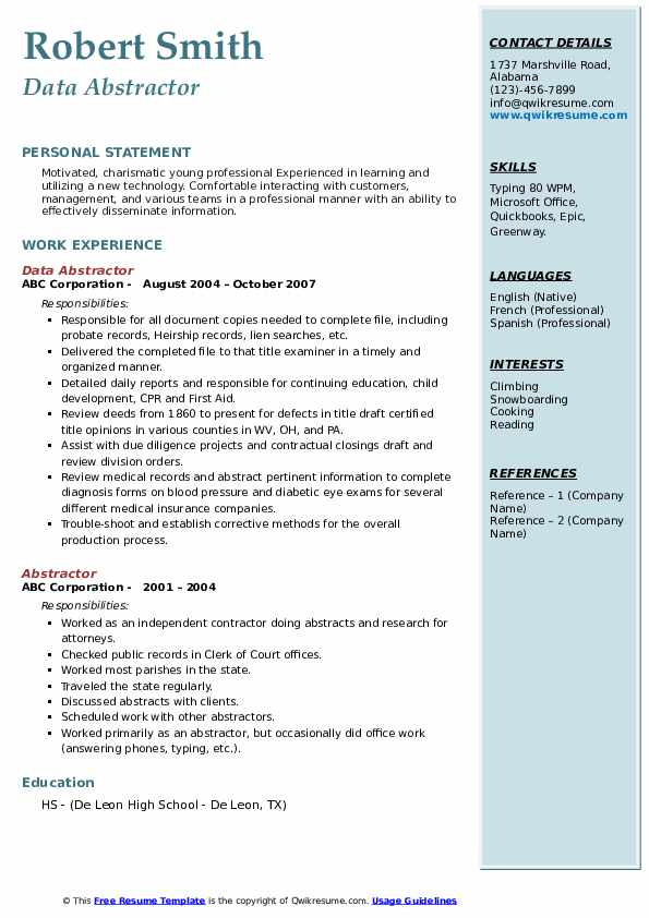 abstractor resume samples qwikresume title sample pdf assistant engineer database Resume Title Abstractor Resume Sample