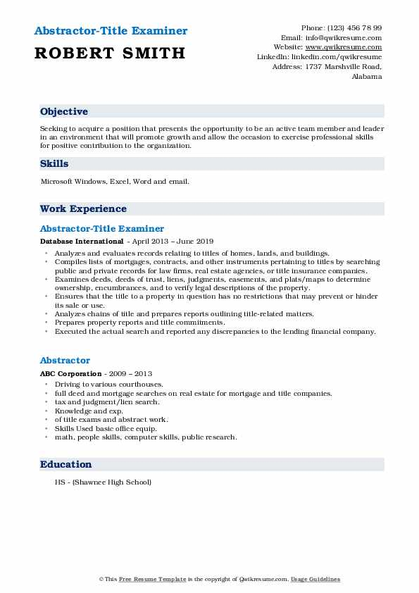 abstractor resume samples qwikresume title sample pdf non profit job of objective for Resume Title Abstractor Resume Sample