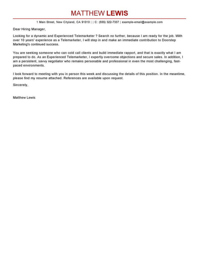 best experienced telemarketer cover letter examples livecareer resume objective Resume Telemarketer Resume Objective