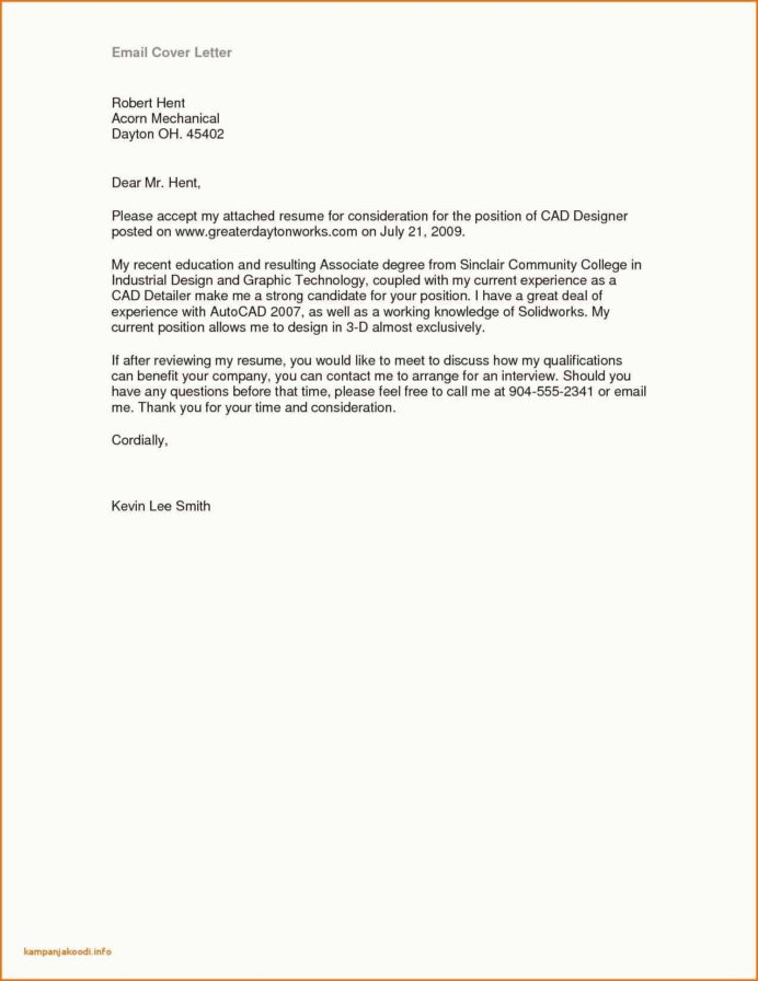 Job Resume Examples Email Cover Letter