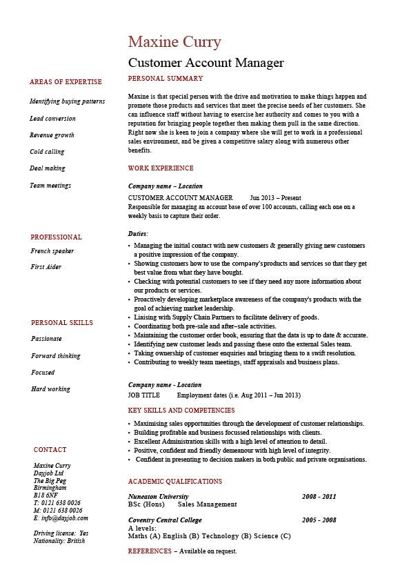 customer account manager cv template resume cover letter technology pic rite aid shift Resume Technology Account Manager Resume
