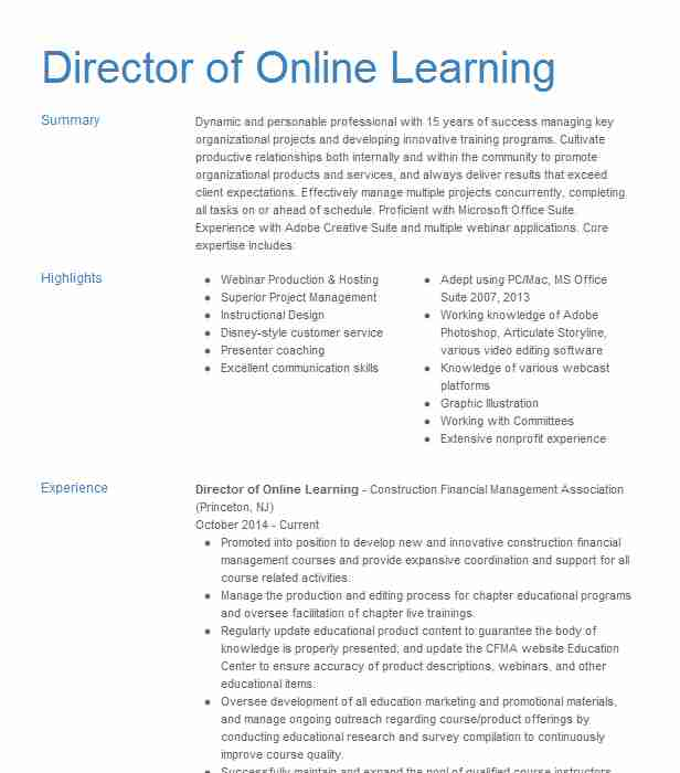 director of learning resume example southern university magnolia storyline reviews data Resume Storyline Resume Reviews