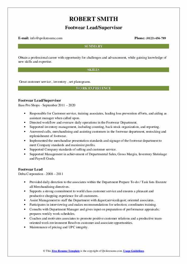 footwear lead resume samples qwikresume format for industry pdf kitchen equipment Resume Resume Format For Footwear Industry