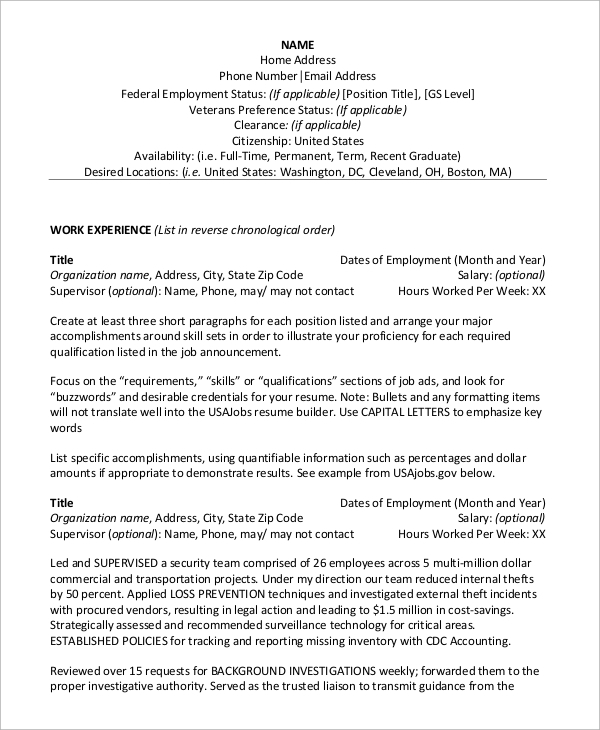 free sample federal resume templates in ms word pdf template chipotle scholastic private Resume Free Federal Resume Template 2020