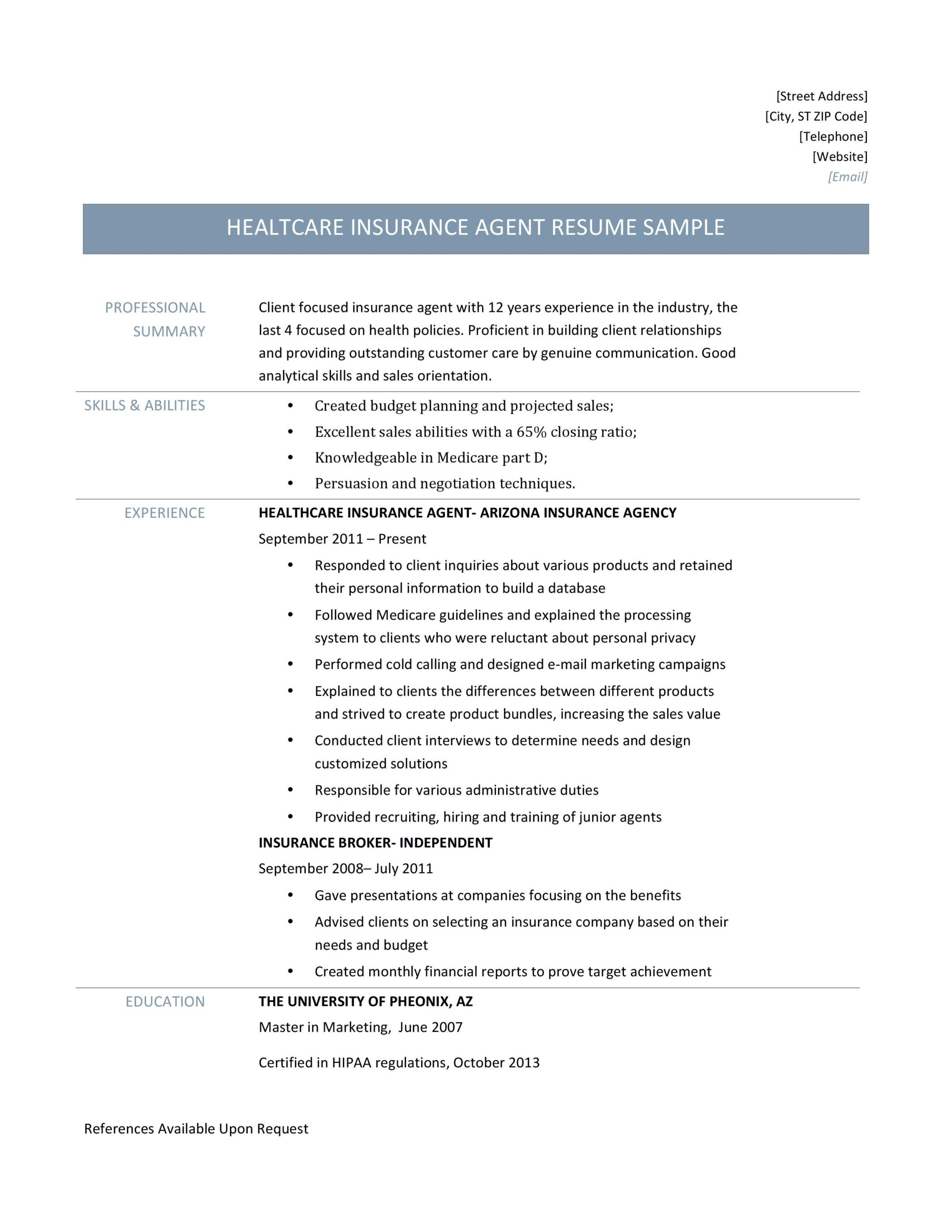 health insurance agent resume samples and job description by builders medium licensed Resume Licensed Health Insurance Agent Resume