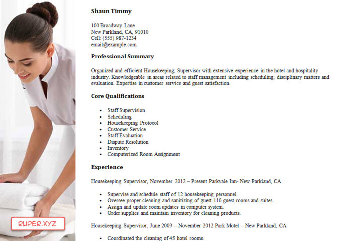 housekeeping resume samples new designs free hotel supervisor sample pdf and word set up Resume Hotel Housekeeping Supervisor Resume Sample