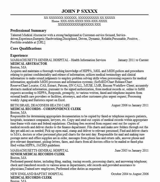 medical records abstractor resume example nemours children health system upper title Resume Title Abstractor Resume Sample
