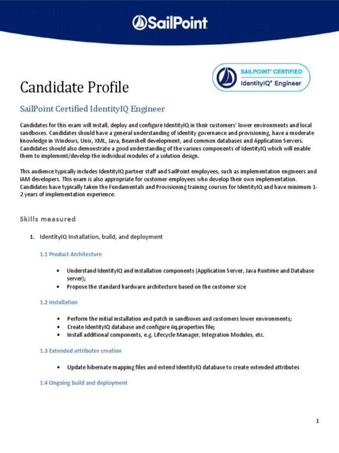 sailpoint certified identityiq engineer profile application programming interface product Resume Sailpoint Support Resume