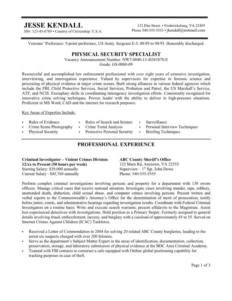 security resume federal example free sample job examples first template noc manager Resume Free Federal Resume Template 2020