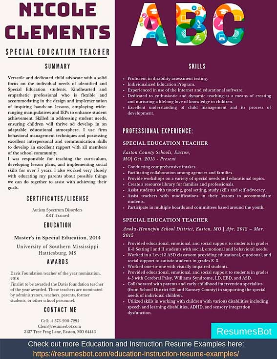 special education teacher resume samples templates pdf resumes bot former sample example Resume Former Teacher Resume Sample