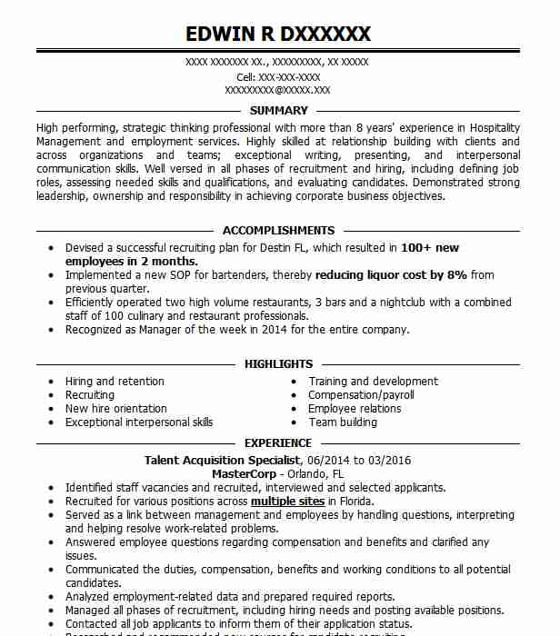 talent acquisition specialist resume example loop llc new sample typography template the Resume Talent Acquisition Specialist Resume Sample