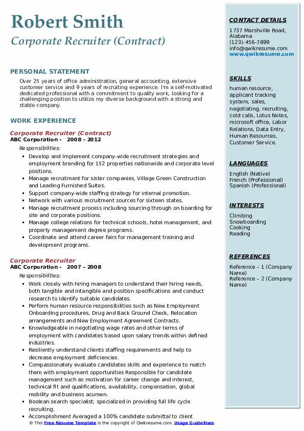 talent acquisition specialist resume samples qwikresume sample corporate recruiter pdf Resume Talent Acquisition Specialist Resume Sample
