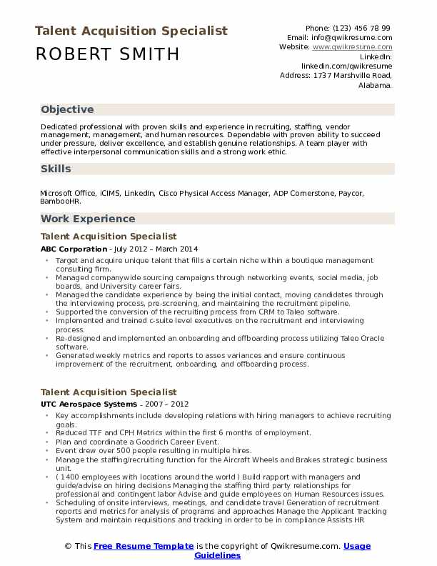 talent acquisition specialist resume samples qwikresume sample pdf free good examples Resume Talent Acquisition Specialist Resume Sample