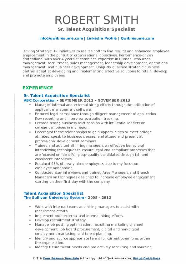 talent acquisition specialist resume samples qwikresume sample pdf pizza delivery driver Resume Talent Acquisition Specialist Resume Sample
