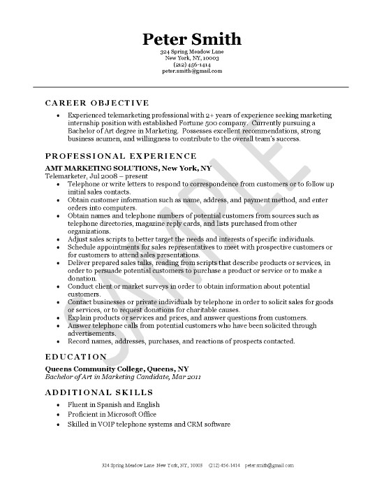 telemarketer resume example objective exsa21 netsuite administrator best practices makeup Resume Telemarketer Resume Objective