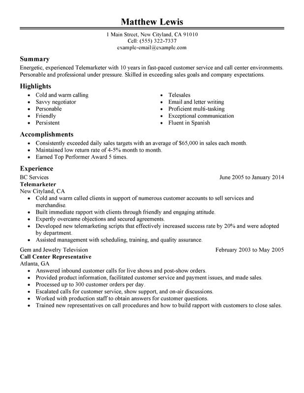 unforgettable experienced telemarketer resume examples to stand out myperfectresume Resume Telemarketer Resume Objective
