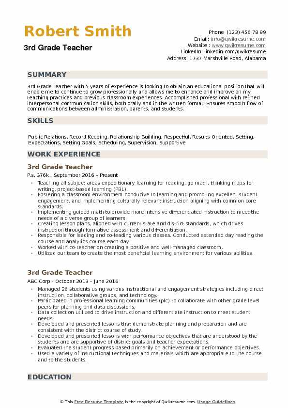 3rd grade teacher resume samples qwikresume summary examples pdf should you staple your Resume Teacher Resume Summary Examples