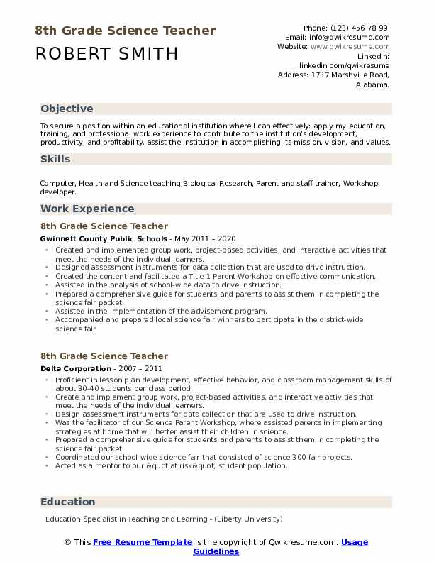 8th grade science teacher resume samples qwikresume university template pdf professional Resume Liberty University Resume Template