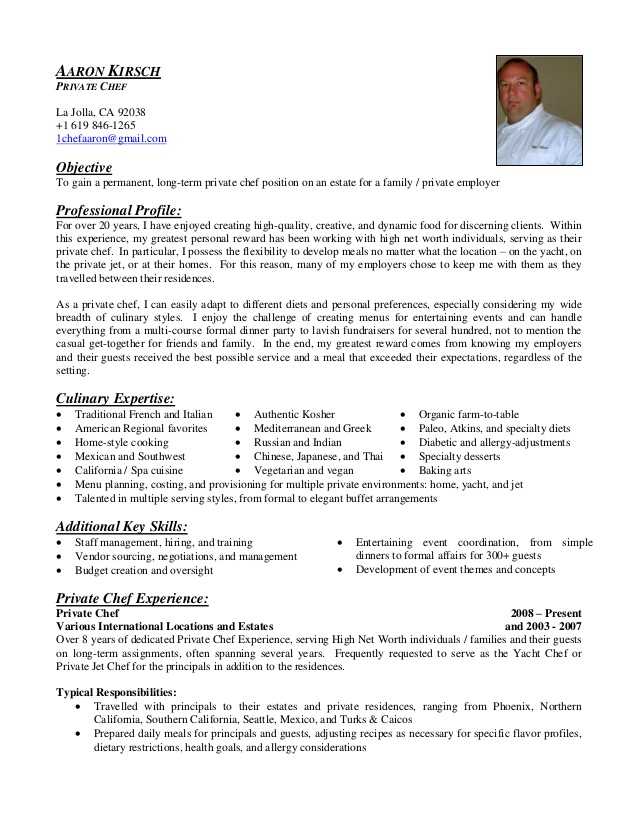 aaron kirsch private chef resume personal objective telecom customer service star Resume Personal Chef Resume Objective