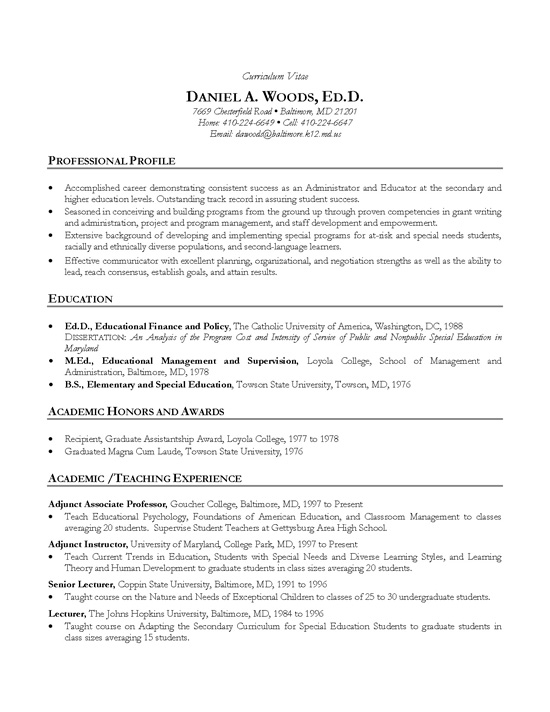 academic cv example teacher professor resume examples education administration example4 Resume Resume Examples Education Administration