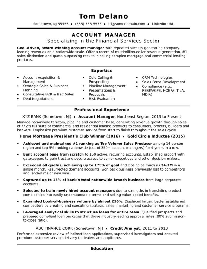 account manager resume sample monster delivery director perfect college example career Resume Delivery Director Resume