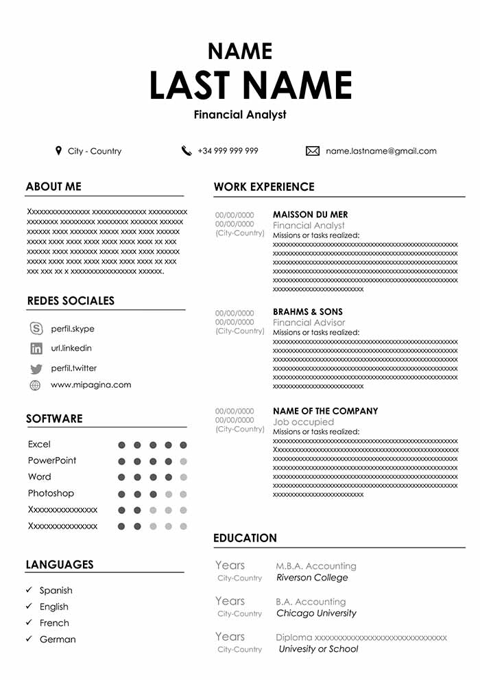 accountant resume sample for word free cvs file format opening line order of sections Resume Resume File Format Download