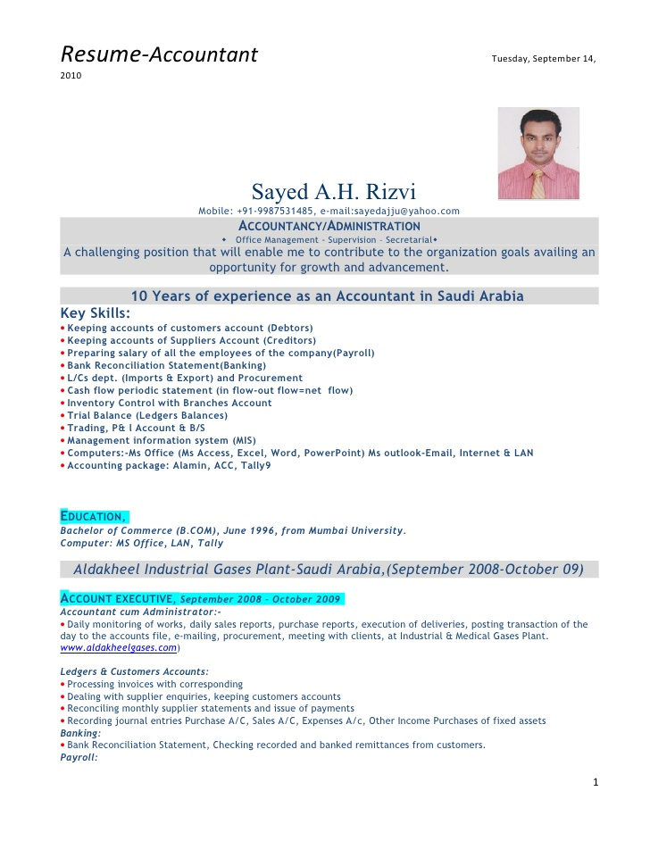 accountant with experience resume format sample data science template personal banker Resume Gulf Resume Format Sample