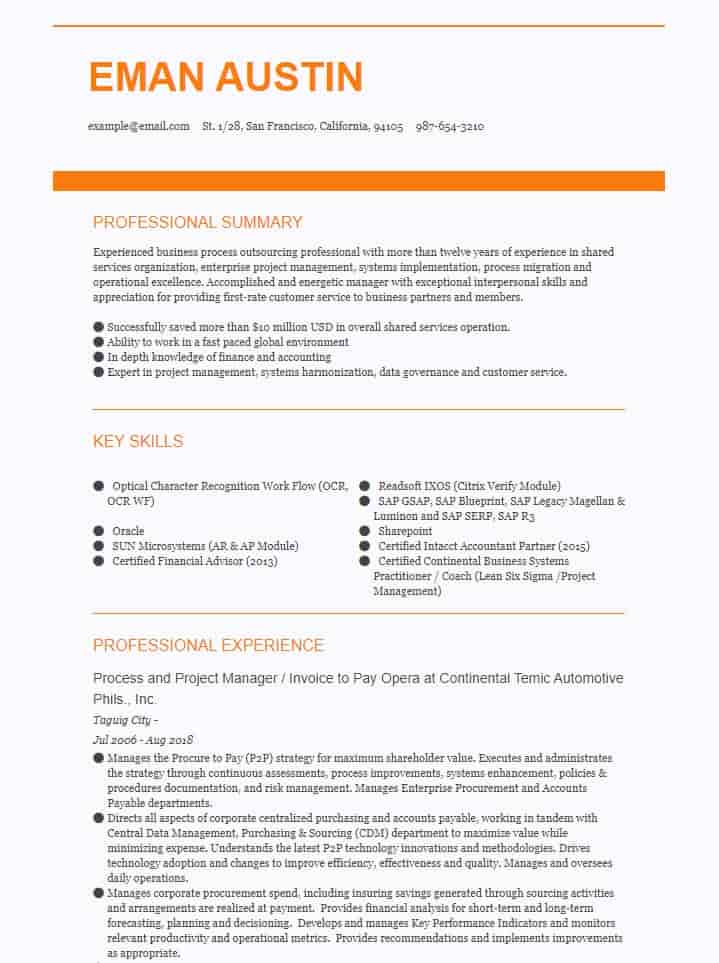 accounting finance resume examples professional format and example recommended Resume Finance Professional Resume Format