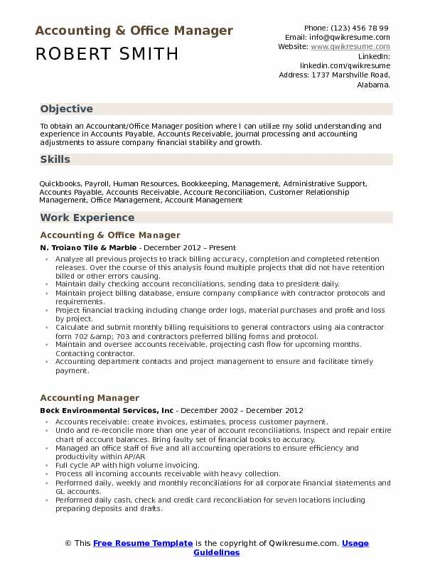 accounting office manager resume samples qwikresume objective for pdf chronological Resume Resume Objective For Manager