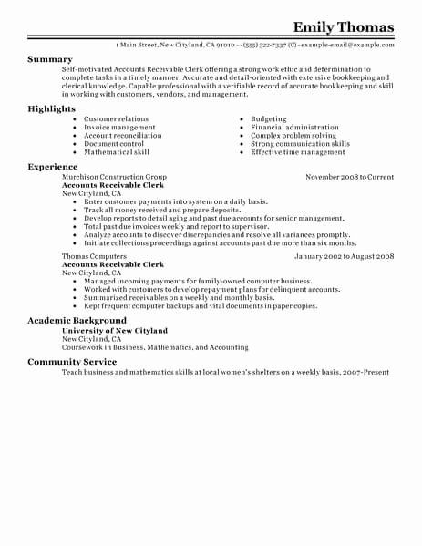 accounts payable and receivable resume awesome best clerk exam job samples template Resume Accounts Receivable Resume Examples