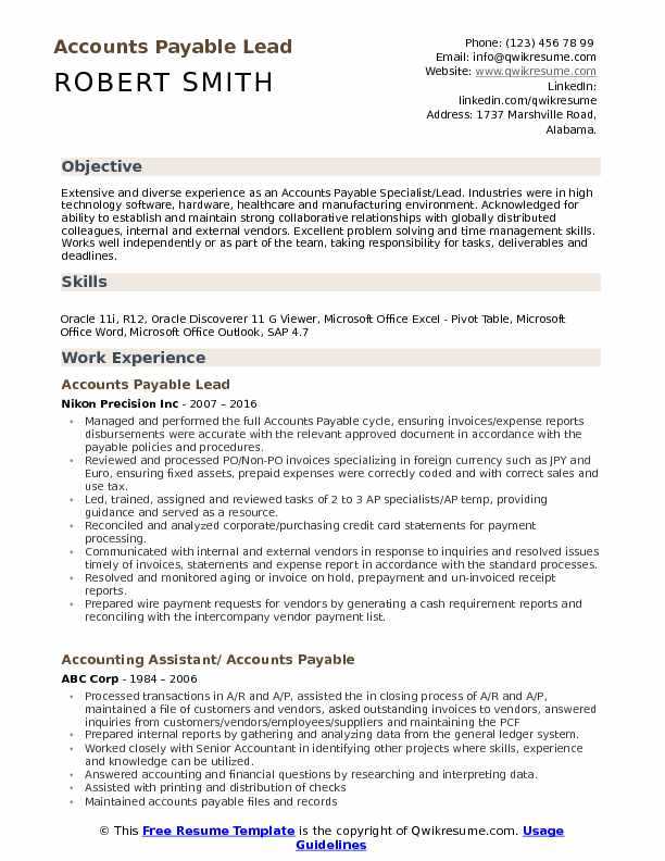 accounts payable lead resume samples qwikresume full cycle pdf construction template Resume Full Cycle Accounts Payable Resume
