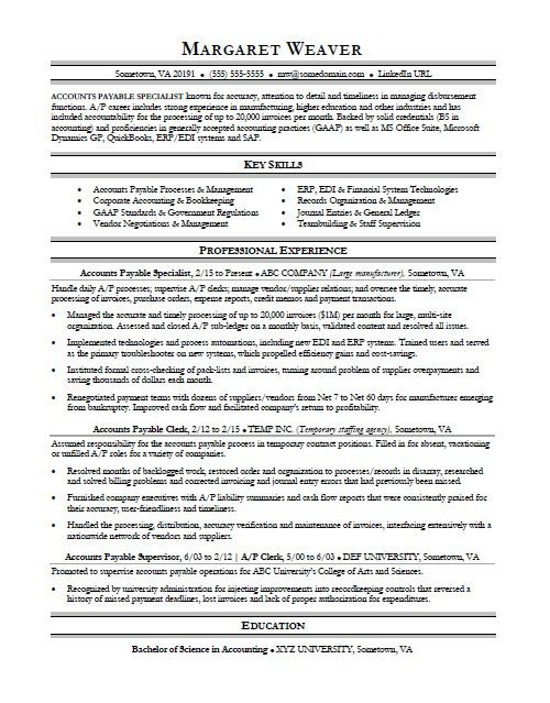 accounts payable resume sample monster clerk duties for swot satellite installation Resume Accounts Payable Clerk Duties For Resume