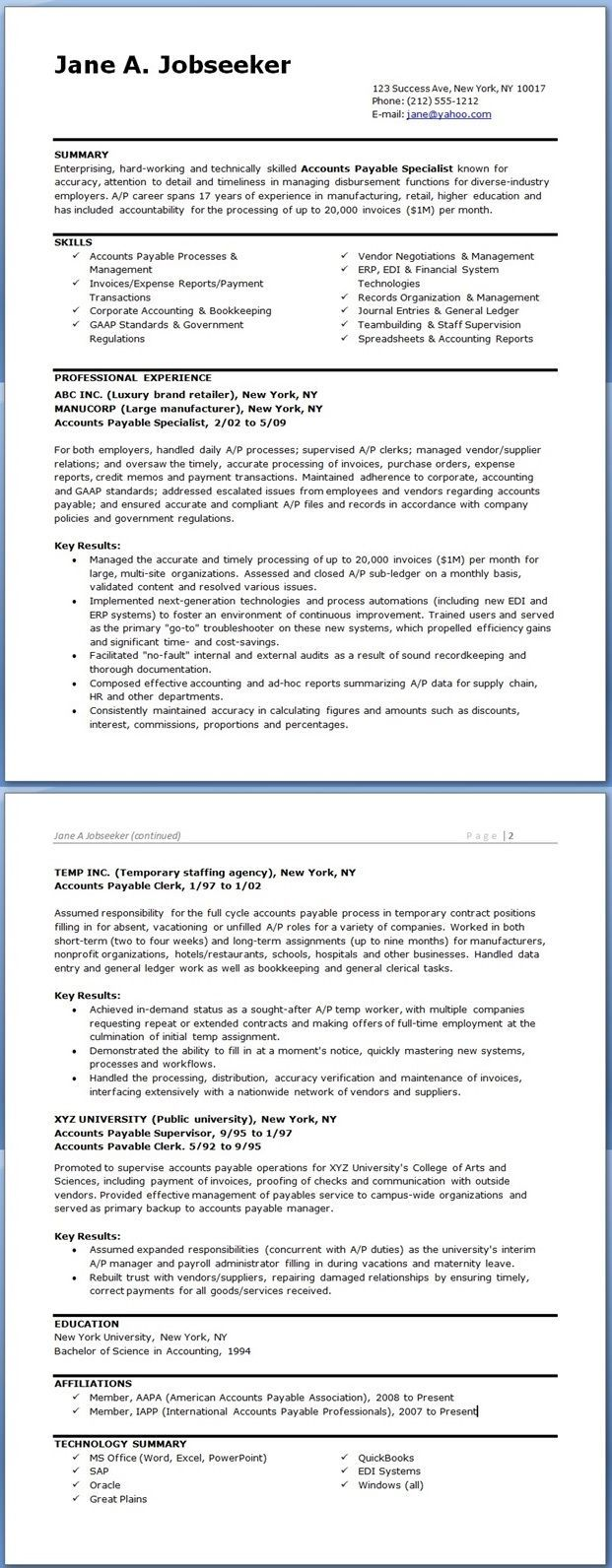 accounts payable specialist resume templates downloads accounting professional examples Resume Full Cycle Accounts Payable Resume