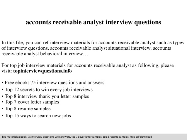 accounts receivable analyst interview questions resume data entry skills ccna sample for Resume Accounts Receivable Analyst Resume