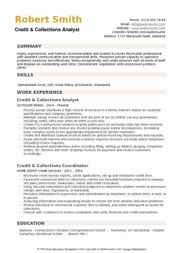 accounts receivable analyst resume elegant credit collections samples examples good job Resume Accounts Receivable Analyst Resume