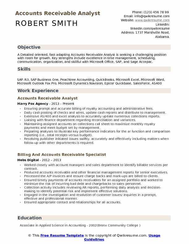 accounts receivable analyst resume samples qwikresume pdf ccna sample for experience Resume Accounts Receivable Analyst Resume