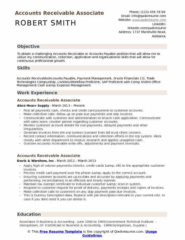 accounts receivable associate resume samples qwikresume summary examples pdf planning Resume Accounts Receivable Resume Summary Examples