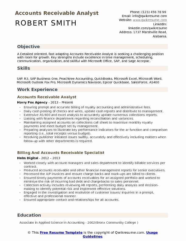 accounts receivable manager resume best of analyst samples job teacher examples manual Resume Accounts Receivable Analyst Resume