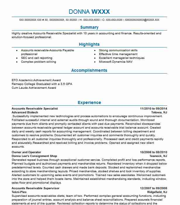 accounts receivable specialist resume example livecareer summary examples academic high Resume Accounts Receivable Resume Summary Examples