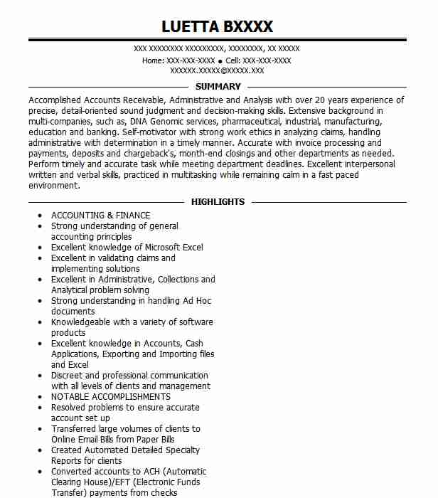 accounts receivable specialist resume example livecareer summary examples planning skills Resume Accounts Receivable Resume Summary Examples