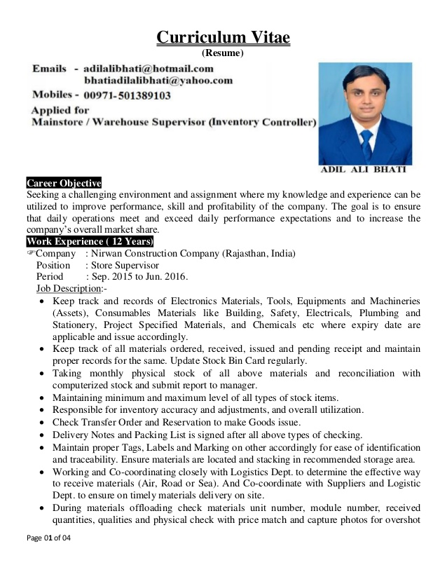 adil cv for warehouse supervisor inventory controller resume position adils data science Resume Resume For Warehouse Supervisor Position