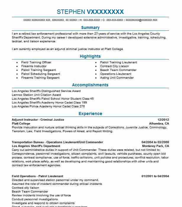 adjunct criminal justice instructor resume example brookline college sample for recent Resume Sample Resume For Recent College Graduate Criminal Justice