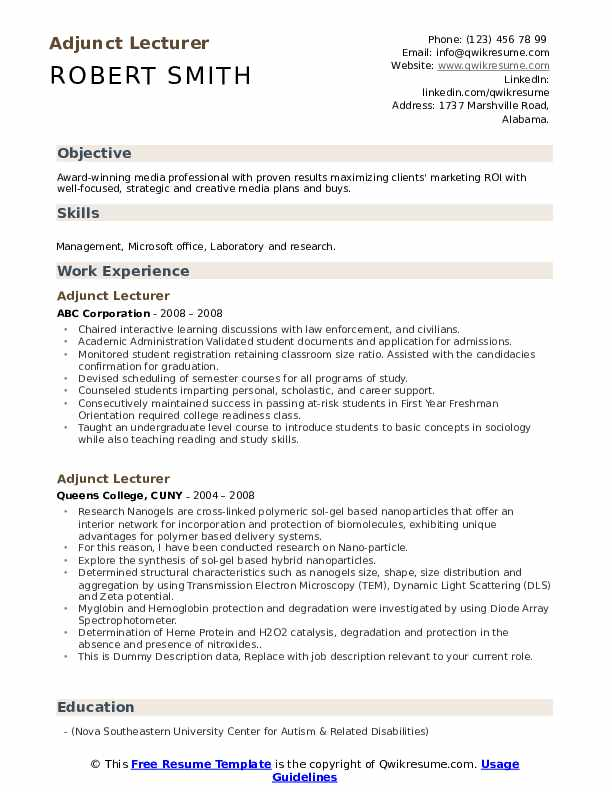 adjunct lecturer resume samples qwikresume guest pdf directv watching personal skills for Resume Guest Lecturer Resume Samples