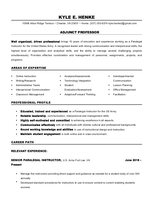 adjunct professor resume sample juicer job description oracle database architect career Resume Adjunct Professor Resume Sample