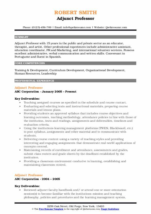 adjunct professor resume samples qwikresume sample pdf talent acquisition coordinator Resume Adjunct Professor Resume Sample