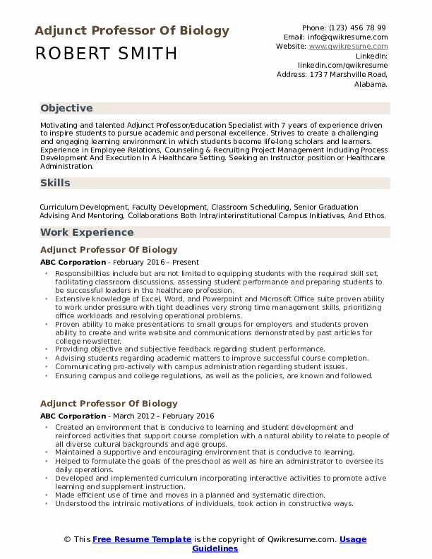 adjunct professor resume samples qwikresume template pdf cyber security reddit verbs for Resume Professor Resume Template