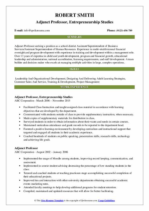 adjunct professor resume samples qwikresume template pdf wpm test for sjvc optimal Resume Professor Resume Template