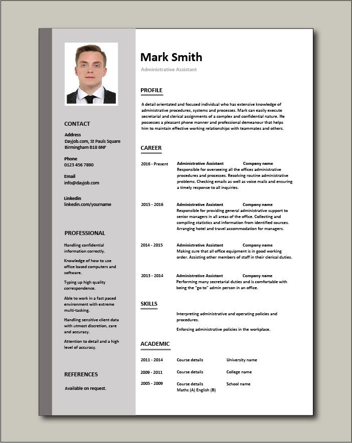 administrative assistant cv sample planning and organizing clerical office jobs resume Resume Sample Resume For Admin Clerk