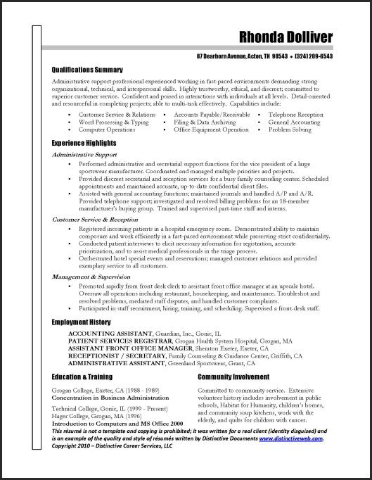 administrative assistant resume job samples sample templates summary brief for name title Resume Administrative Assistant Resume Summary