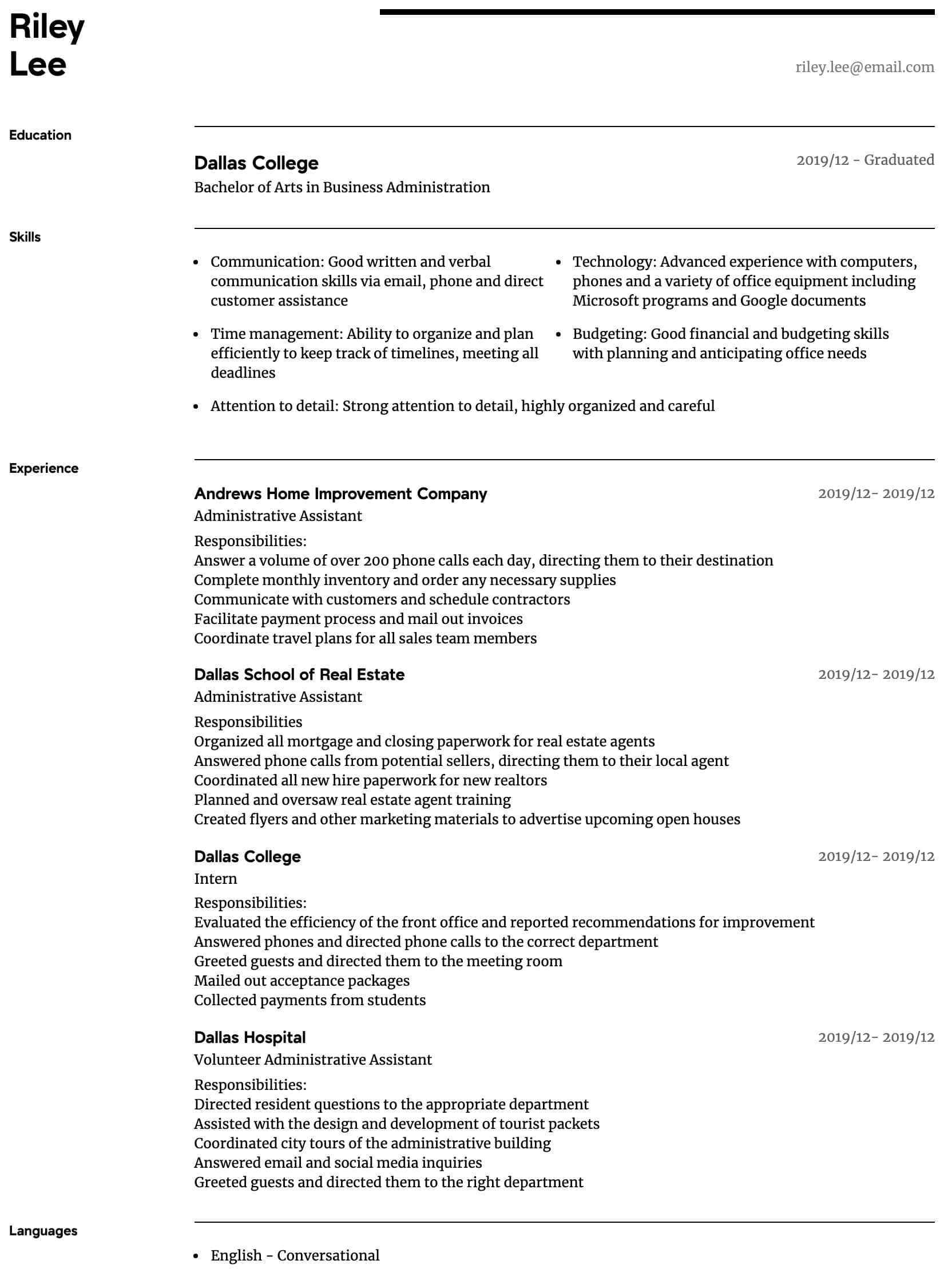 administrative assistant resume samples all experience levels professional intermediate Resume Administrative Professional Resume